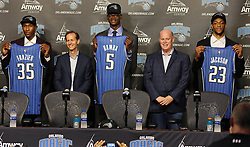 June 22, 2018 - Orlando, FL, USA - Orlando Magic president Jeff Weltman, second from left, and head coach Steve Clifford, second from right, stand with the newest draft picks during a news conference at the Amway Center in Orlando, Fla., on Friday, June 22, 2018. Melvin Frazier (35), Mo Bamba (5), and Justin Jackson (23) were selected in the NBA Draft Thursday night. (Credit Image: © Stephen M. Dowell/TNS via ZUMA Wire)