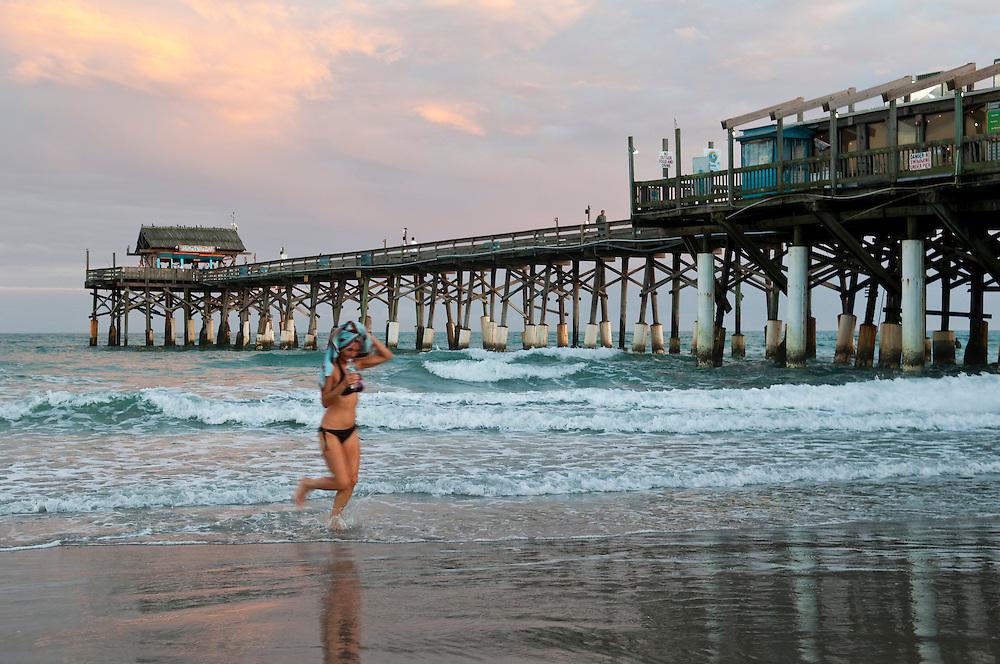 Dusk at the Cocoa Beach Pier in Brevard County, Florida