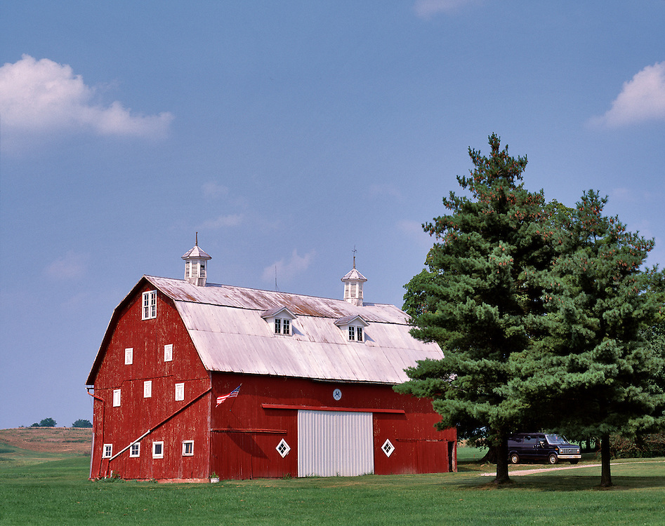A multi-storied red barn in northwest Ohio.