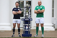 Greig Laidlaw, the Scotland captain and Rory Best, the Ireland captain pose with the Six Nations Trophy. RBS Six Nations 2017 media launch at the Hurlingham Club, Ranelagh Gardens in London on Wednesday 25th January 2017.<br /> pic by John Patrick Fletcher, Andrew Orchard sports photography.