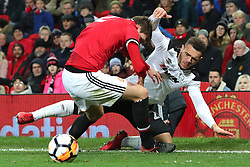 5 January 2018 - FA Cup (3rd Round) Football - Manchester United v Derby County - Victor Lindelof of Man Utd fouls Mason Bennett of Derby as he throws him to the ground - Photo: Charlotte Wilson / Offside