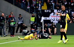Chelsea's Andreas Christensen (left) collides with Eintracht Frankfurt's Sebastian Rode resulting in a yellow card during the UEFA Europa League Semi final, first leg match at The Frankfurt Stadion, Frankfurt.