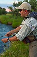 Fly fisherman in Montana waiting for the strike.