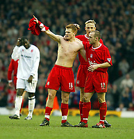 Liverpool's John Arne Riise (l) celebrates his equalising goal against Middlesbrough with team-mates Sami Hyypia (c) Danny Murphy (r) during the Premiership  match at Anfield, Liverpool, Saturday, February 8th, 2003.<br />David Rawcliffe, Digitalsport<br />Pic by David Rawcliffe/Propaganda<br /><br />Any problems call David Rawcliffe on +44(0)7973 14 2020 or email david@propaganda-photo.com - http://www.propaganda-photo.com