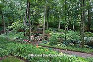 65021-029.04 Shade garden with pond, waterfall, hostas, ferns, impatiens, daylillies, bridge, gazebo, paths,  St. Louis  MO