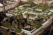 Aerial of the terraced Oakland Museum of California, Oakland, California. USA. Designed by Kevin Roche John Dinkeloo and Associates LLC.