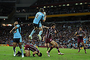 May 25th 2011: Brett Morris of the Blues leaps for the high ball during game 1 of the 2011 State of Origin series at Suncorp Stadium in Brisbane, Australia on May 25, 2011. Photo by Matt Roberts/mattrIMAGES.com.au / QRL