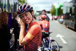 Kasia Niewiadoma (POL) prepares for Stage 2 of 2019 OVO Women's Tour, a 62.5 km road race starting and finishing in the Kent Cyclopark in Gravesend, United Kingdom on June 11, 2019. Photo by Sean Robinson/velofocus.com