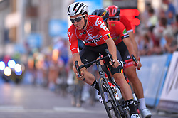 August 3, 2018 - Putte, BELGIUM - Belgian Jasper De Buyst of Lotto Soudal leads the pack during the 3rd edition of the 'Natourcriterium Putte' cycling event, Friday 03 August 2018 in Putte. The contest is a part of the traditional 'criteriums', local races in which mainly cyclists who rode the Tour de France compete. BELGA PHOTO LUC CLAESSEN (Credit Image: © Luc Claessen/Belga via ZUMA Press)