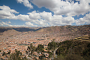 Cuzco seen from Christo Blanco. The city has a population of 350,000 and is located at an altitude of 3,300m. Peru, 2008