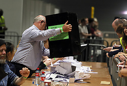 Votes are counted at Dublin's RDS in the referendum on the 8th Amendment of the Irish Constitution which prohibits abortions unless a mother's life is in danger.