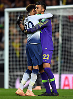 Football - 2018 / 2019 EFL Carabao Cup (League Cup) - Third Round: Tottenham Hotspur vs. Watford<br /> <br /> Tottenham Hotspur's Dele Alli congratulates Paulo Gazzaniga after their victory in the penalty shoot out, at Stadium MK.<br /> <br /> COLORSPORT/ASHLEY WESTERN