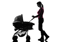 one  woman prams baby walking silhouette on white background