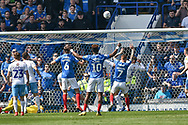 Coventry City Defender, Tom Davies (5) clears the ball off the line  during the EFL Sky Bet League 1 match between Portsmouth and Coventry City at Fratton Park, Portsmouth, England on 22 April 2019.