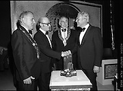 """Tops of the Town Final.   (N79)..1981..31.05.1981..05.31.1981..31st May 1981..The John Player sponsored Tops Of The Town competition had its final tonight in the Gaiety Theatre, Dublin.The overall winners were the Limerick Insurances Group...Photograph shows Mr Raymond Kirk, producer of St Joseph's Youth Club, Strabane show which was runner up in the """"Tops"""" final receiving his award from Mr Oliver Casey, Managing Director, John Player. Included in the photograph are Clr Clem Casey, Lord Mayor of Limerick and Clr Edward Turner,Chairman, Strabane District Council."""