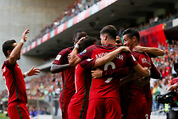 August 31, 2017 - Venice, Porto, Italy - Portugal's forward Cristiano Ronaldo (R) celebrates after scoring a goal during the FIFA World Cup Russia 2018 qualifier match between Portugal and Faroe Islands at Bessa Sec XXI Stadium on August 31, 2017 in Porto, Portugal. (Credit Image: © Dpi/NurPhoto via ZUMA Press)