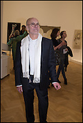JOHN DUNBAR at the Private view for A Strong Sweet Smell of Incense<br /> A Portrait of Robert Fraser, Curated by Brian Clarke. Pace Gallery. 6 Burlington Gardens. London. 5 February 2015.