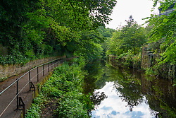 View of the Water of Leith and path in west Edinburgh, Scotland, UK