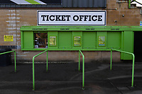 Football - 2020 / 2021 EFL League Two - Forest Green Rovers vs Bradford City<br /> <br /> The ticket office opens as it awaits Forest Green Rovers fans in attendance as part of the test pilot allowing up to 1000 fans into the ground, at the New Lawn Stadium<br /> <br /> COLORSPORT/ASHLEY WESTERN