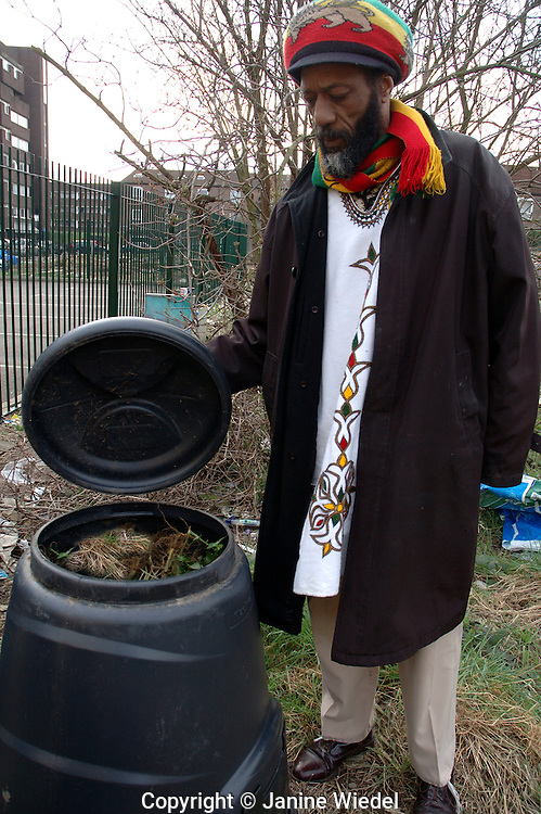 Rastafarian composting and recycling in inner city open land in Dagenham South London.