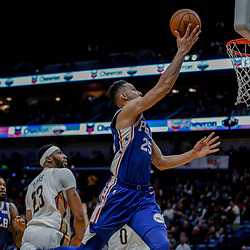 Dec 10, 2017; New Orleans, LA, USA; Philadelphia 76ers guard Ben Simmons (25) shoots over New Orleans Pelicans forward Anthony Davis (23) during the second half at the Smoothie King Center. The Pelicans defeated the 76ers 131-124. Mandatory Credit: Derick E. Hingle-USA TODAY Sports