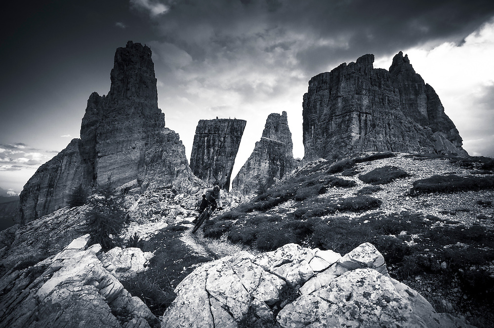 Limestone, lightning storms and hail stones. Just another day. Steve Jones, Dolomites, Italy.