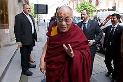 © Licensed to London News Pictures. 19/06/2012. LONDON, UK. His Holiness the Dalai Lama arrives at the University of Westminster's Oxford Street campus to give a talk on the values of democracy and Tibet in London today (19/0612). The talk came as part of the Dalai Lama's visit to London to spread a message of non-violence, dialogue and universal responsibility, particularly to young people.. Photo credit: Matt Cetti-Roberts/LNP
