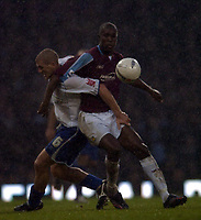 Photo: Olly Greenwood.<br />West Ham United v Brighton & Hove Albion. The FA Cup. 06/01/2007. West Ham's Carlton Cole and Brighton's Adam El-Abd