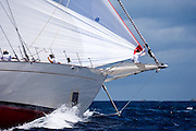 Windrose sailing in the Windward Race at the Antigua Classic Yacht Regatta.