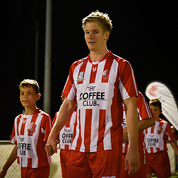 BRISBANE, AUSTRALIA - APRIL 13: Kristen Waters of Olympic FC walks out during the NPL Queensland Senior Men's Round 4 match between Olympic FC and Moreton Bay Jets at Goodwin Park on April 13, 2017 in Brisbane, Australia. (Photo by Patrick Kearney/Olympic FC)