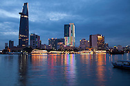 Cityscape of  Ho Chi Minh city (HCMC), Vietnam, Asia. River view from dist.2 to Dist.1. Skyline at night