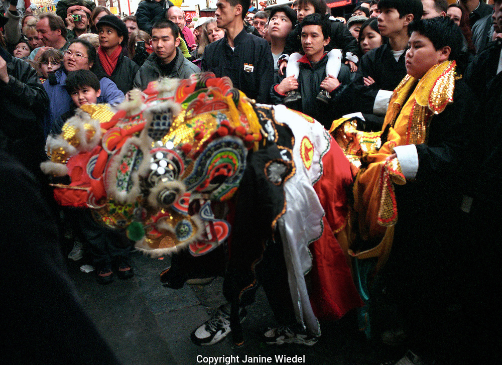 Chinese New Year celebrations in the streets of Soho in central London.
