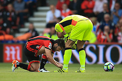 Harry Arter of Bournemouth ties Artur Boruc of Bournemouth shoe laces during the match - Mandatory by-line: Jason Brown/JMP - 24/09/2016 - FOOTBALL - Vitality Stadium - Bournemouth, England - AFC Bournemouth v Everton - Premier League