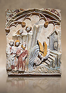 Late 13th or 14th century Gothic Bas-relief depicting the miracle performed by St Michael at Mont St Michael. limestone with traces of polcrome from the Church of San Miguel de Canet lo Roig (Castello), by the Master of Sant Mateu. Inv MNAC 45846-45845. National Museum of Catalan Art (MNAC), Barcelona, Spain .<br /> <br /> If you prefer you can also buy from our ALAMY PHOTO LIBRARY  Collection visit : https://www.alamy.com/portfolio/paul-williams-funkystock/gothic-art-antiquities.html  Type -     MANAC    - into the LOWER SEARCH WITHIN GALLERY box. Refine search by adding background colour, place, museum etc<br /> <br /> Visit our MEDIEVAL GOTHIC ART PHOTO COLLECTIONS for more   photos  to download or buy as prints https://funkystock.photoshelter.com/gallery-collection/Medieval-Gothic-Art-Antiquities-Historic-Sites-Pictures-Images-of/C0000gZ8POl_DCqE