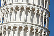 The world famous Leaning (bell) Tower in Pisa, Tuscany, Italy.<br /> Picture date: Thursday February 21, 2019.<br /> Photograph by Christopher Ison ©<br /> 07544044177<br /> chris@christopherison.com<br /> www.christopherison.com
