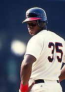 CHICAGO - 1990:  Frank Thomas of the Chicago White Sox looks on during an MLB game at Comiskey Park in Chicago, Illinois.  Thomas played for the White Sox from 1990-2005.  (Photo by Ron Vesely)