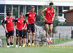 24.07.2015, Sportplatz, Walchsee, AUT, Trainingslager, FC Augsburg, im Bild Dong-Won Ji (FC Augsburg #22, re.) macht grosse Sprünge // during the Trainingscamp of German Bundesliga Club FC Augsburg at the Sportplatz in Walchsee, Austria on 2015/07/24. EXPA Pictures © 2015, PhotoCredit: EXPA/ Eibner-Pressefoto/ Krieger<br /> <br /> *****ATTENTION - OUT of GER*****