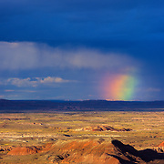 Rainbow near sunset over the Painted Desert in Petrified Forest National Park, AZ.