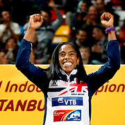 Great Britain's Yamile Aldama celebrates her Gold Medal in the Womens Triple Jump during the IAAF World Indoor Championships at the Atakoy Athletics Arena, Istanbul, Turkey. Photo by TURKPIX