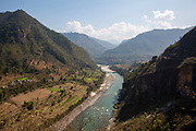 The Buri Gandaki river on the 3rd of March 2020 near Malekhu Benighat region, Nepal. This river is a tributary of the Gandaki river in Nepal and acts as a boarder for the Benighat of Dhading and Gorkha Districts. Nepal is looking to build a $2.5 billion dam on the river, the plant and its reservoir are to be located in the Dhading and Gorkha districts. (photo by Andrew Aitchison / In pictures via Getty Images)