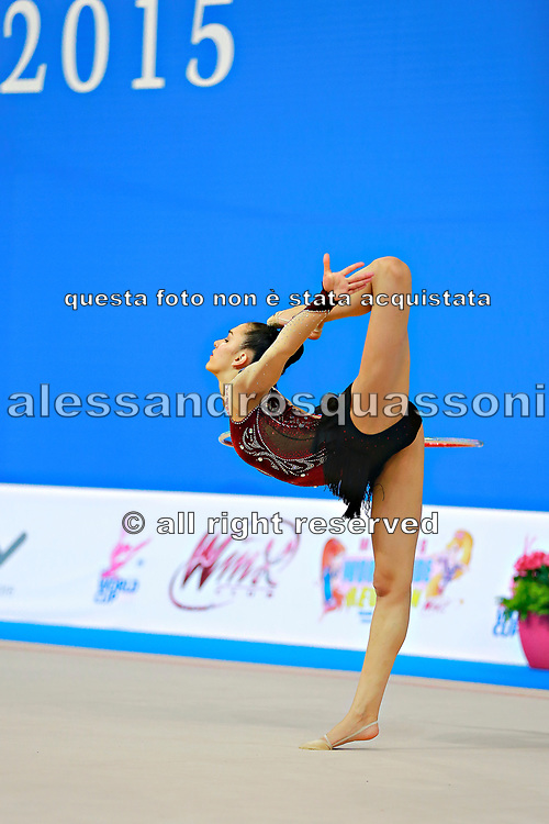 Alevrogianni Korina during qualifying at hoop in Pesaro World Cup 10 April 2015. Korina  was born on 5 June,1997 in Athens. She is a Greek individual rhythmic gymnast.