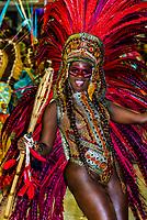 Samba dancer in the Carnaval parade of Academicos do Sossego samba school in the Sambadrome, Rio de Janeiro, Brazil.