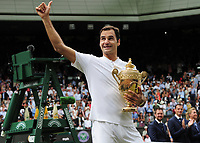 Tennis - 2017 Wimbledon Championships - Week Two, Sunday [Day Thirteen]<br /> <br /> Men Doubles Final match<br /> <br /> Marin Cilic (CRO) vs Rodger Federer (SUI)<br /> <br /> Rodger Federer with the trophy on  Centre court <br /> <br /> COLORSPORT/ANDREW COWIE