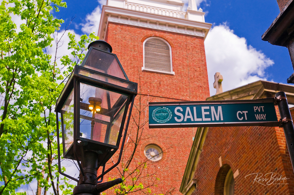The Old North Church and gas street lamp on the Freedom Trail, Boston, Massachusetts USA