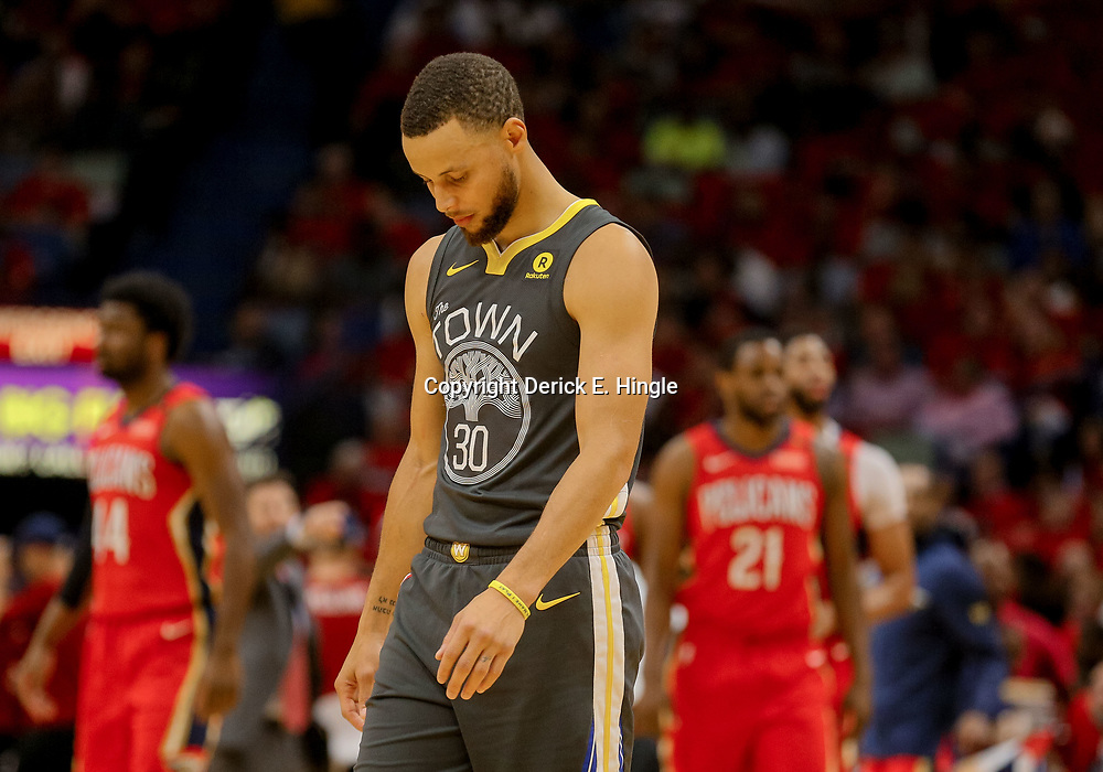 May 4, 2018; New Orleans, LA, USA; Golden State Warriors guard Stephen Curry (30) against the New Orleans Pelicans during the first quarter in game three of the second round of the 2018 NBA Playoffs at Smoothie King Center. Mandatory Credit: Derick E. Hingle-USA TODAY Sports