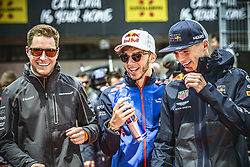 May 13, 2018 - Barcelona, Catalonia, Spain - STOFFEL VANDOORNE (BEL), McLaren, BRENDON HARTLEY (NZL), Toro Rosso, and MAX VERSTAPPEN (NED), Red Bull, are presented to the crowd prior the Spanish GP at Circuit de Barcelona - Catalunya (Credit Image: © Matthias Oesterle via ZUMA Wire)