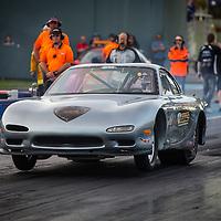 Brett Glover (2060) lifting the wheels in his Mazda RX-7 in the Perth Motorplex Super Competition eliminator.