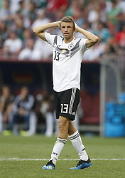 MOSCOW, June 17, 2018  Thomas Mueller of Germany reacts during a group F match between Germany and Mexico at the 2018 FIFA World Cup in Moscow, Russia, June 17, 2018. (Credit Image: © Cao Can/Xinhua via ZUMA Wire)
