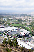 A look at Grizzly Stadium at the University of Montana in Missoula. Taken with a tilt-shift lens. Missoula Photographer, Missoula Photographers, Montana Pictures, Montana Photos, Photos of Montana