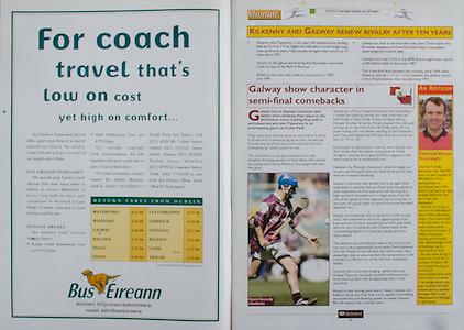 All Ireland Senior Hurling Championship - Final,.14092003AISHCF,.14.09.2003, 09.14.2003, 9th September 2003,.Senior Kilkenny 1-14, Cork 1-11,.Minor Kilkenny 2-16, Galway 2-15,.Bus Eireann, .